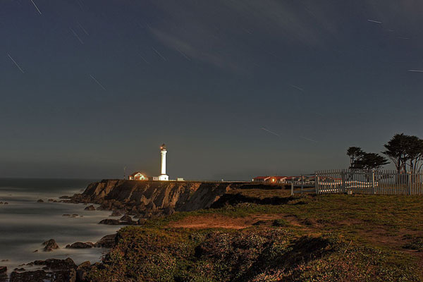 Point Arena Lighthouse at Night, photo by Richard Skidmore