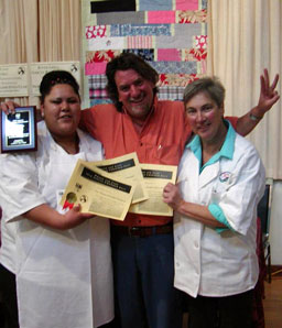 2013 Chowder Challenge: Chef Denise Souza (right) with Sus Susalla (center) and line cook Barbara Scarioni (left)